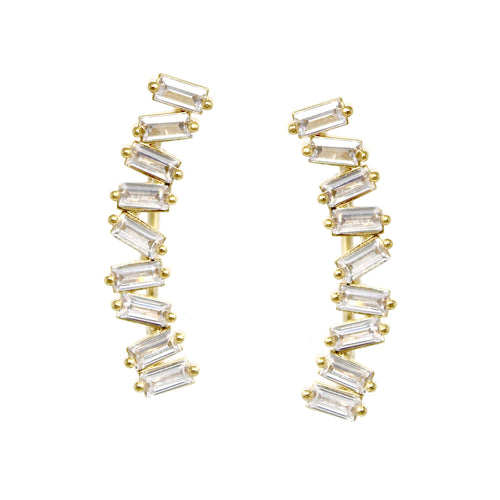Gold Dipped Cubic Zirconia Pave Curved Bar Earrings