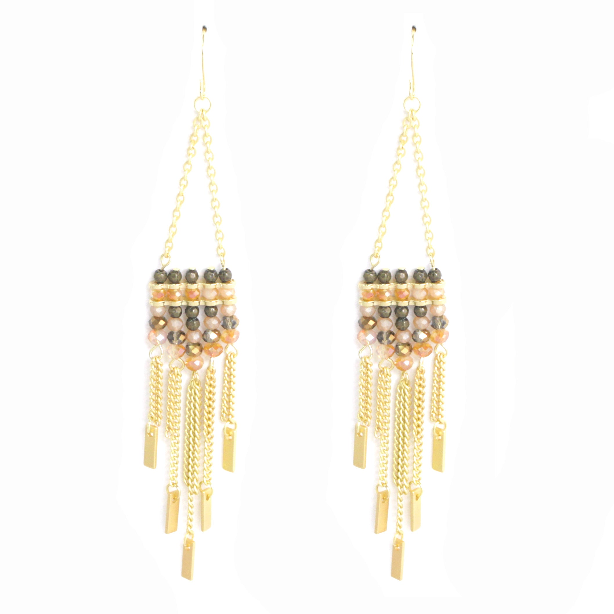 Oversized Beaded  Tassel Earrings