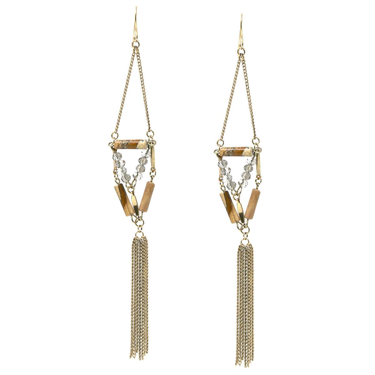 Natural Stone Tube Bead Chain Tassel Drop Earrings