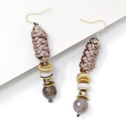 Braided Thread Wrapped Bead Drop Earrings