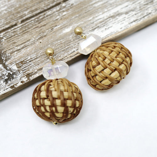 Natural Stone And Raffia Ball Drop Earrings