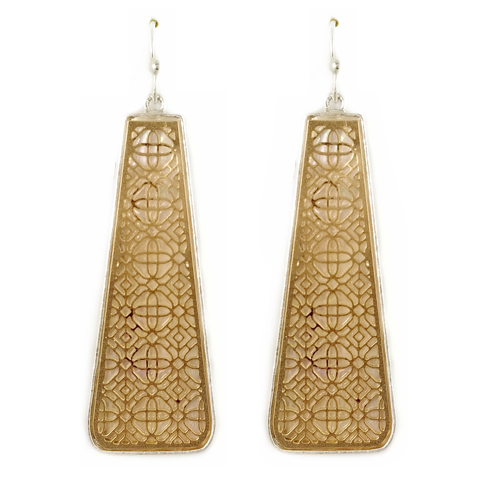 Two Tone Geometric Filigree Drop Earrings