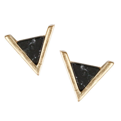 Semi Precious Stone Mini Triangle Stud Earrings