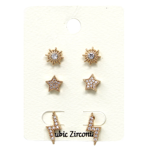 Cubic Zirconia Pave Star & Thunder Bolt Stud Earrings Set