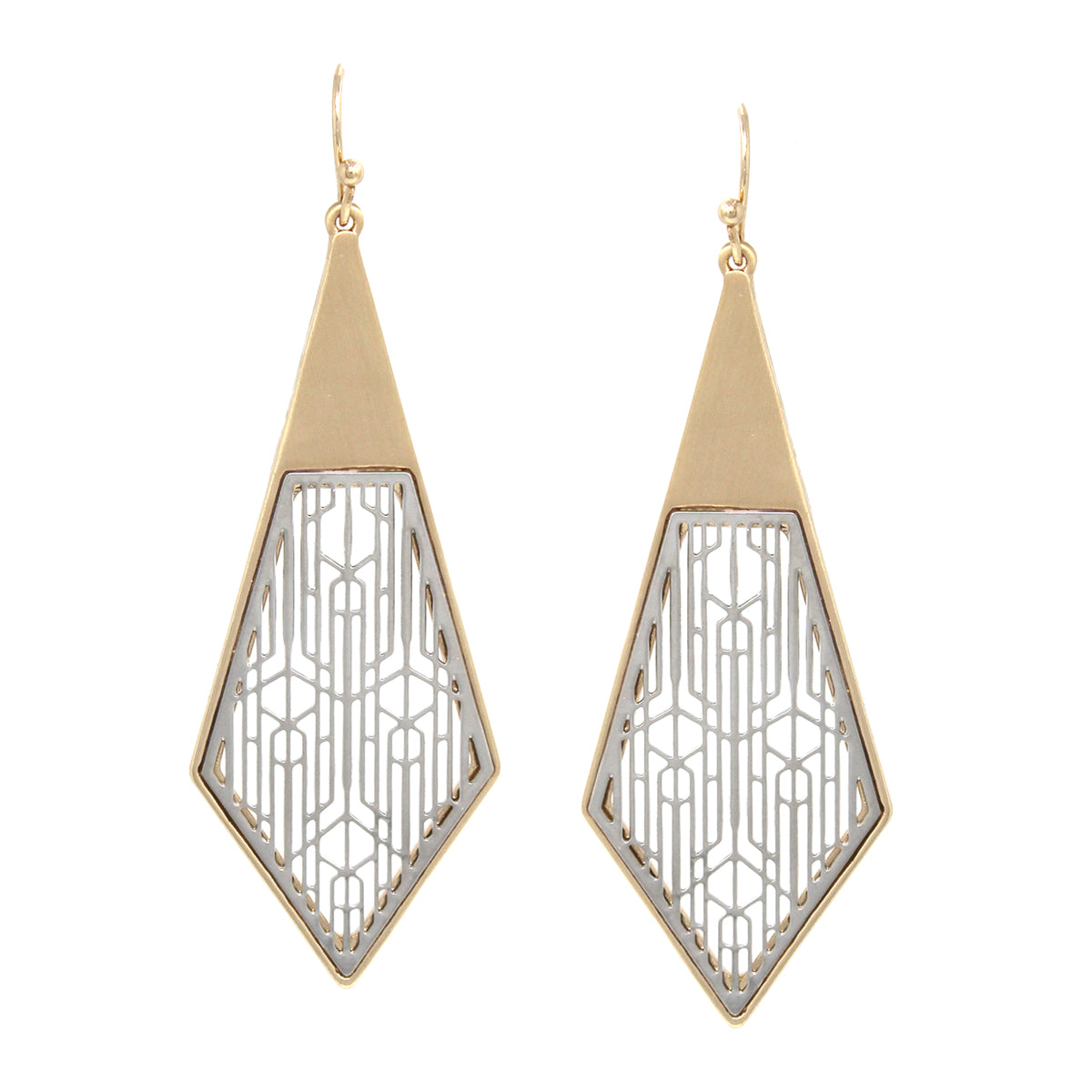 Filigree Laser Cutout Rhombus Shape Drop Earrings