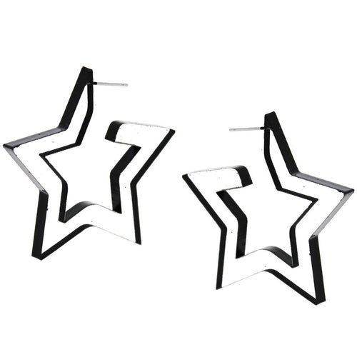 Star Shape Color Paint Clear Acetate Hoop Earrings