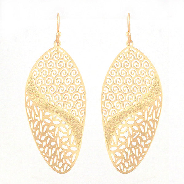 Oriental Curved Plated Perforated Earrings