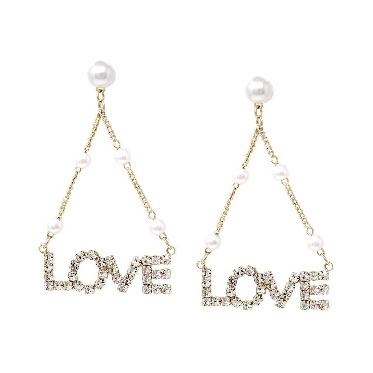 Pearl Bead With LOVE Rhinestone Pave Swing Drop Earrings