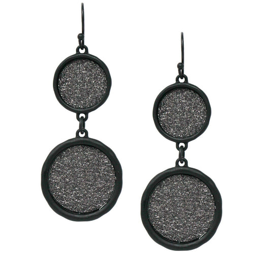 Metal Paved Shiny Double Disc Drop Earrings