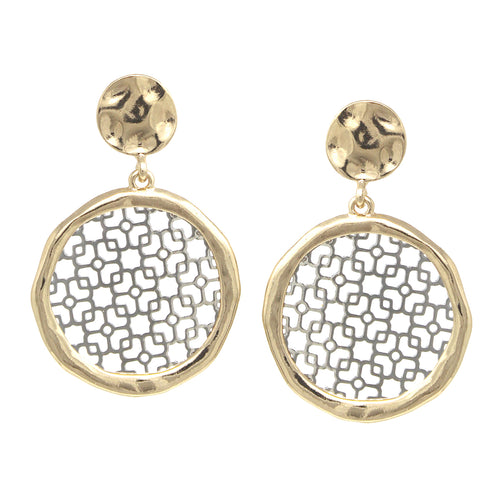 Hammered Texture Framed Filigree Laser Cutout Disc Drop Earrings