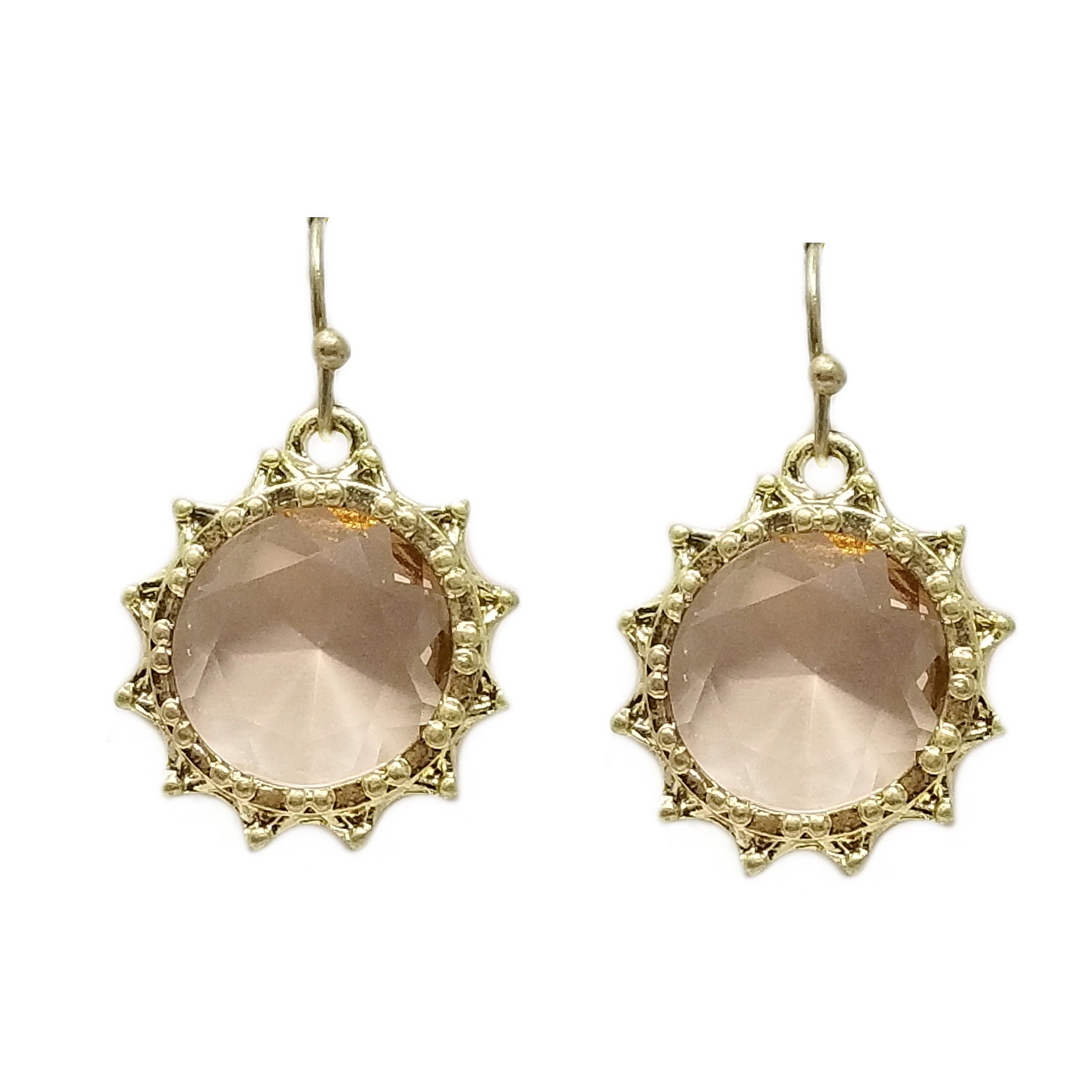 Framed Glass Stone Drop Earrings
