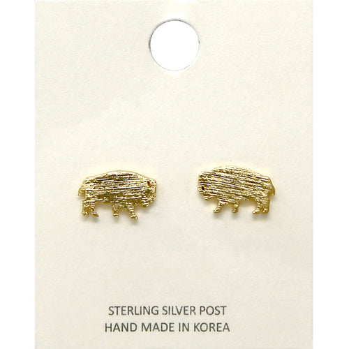Brush Textured Metal Buffalo Stud Earrings