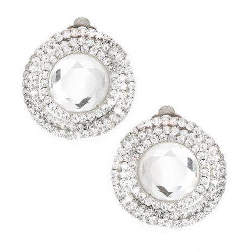 Twisted Rhinestone Round Statement Clip On Earrings