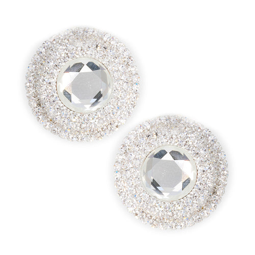 Rhinestone Round Statement Clip On Earrings