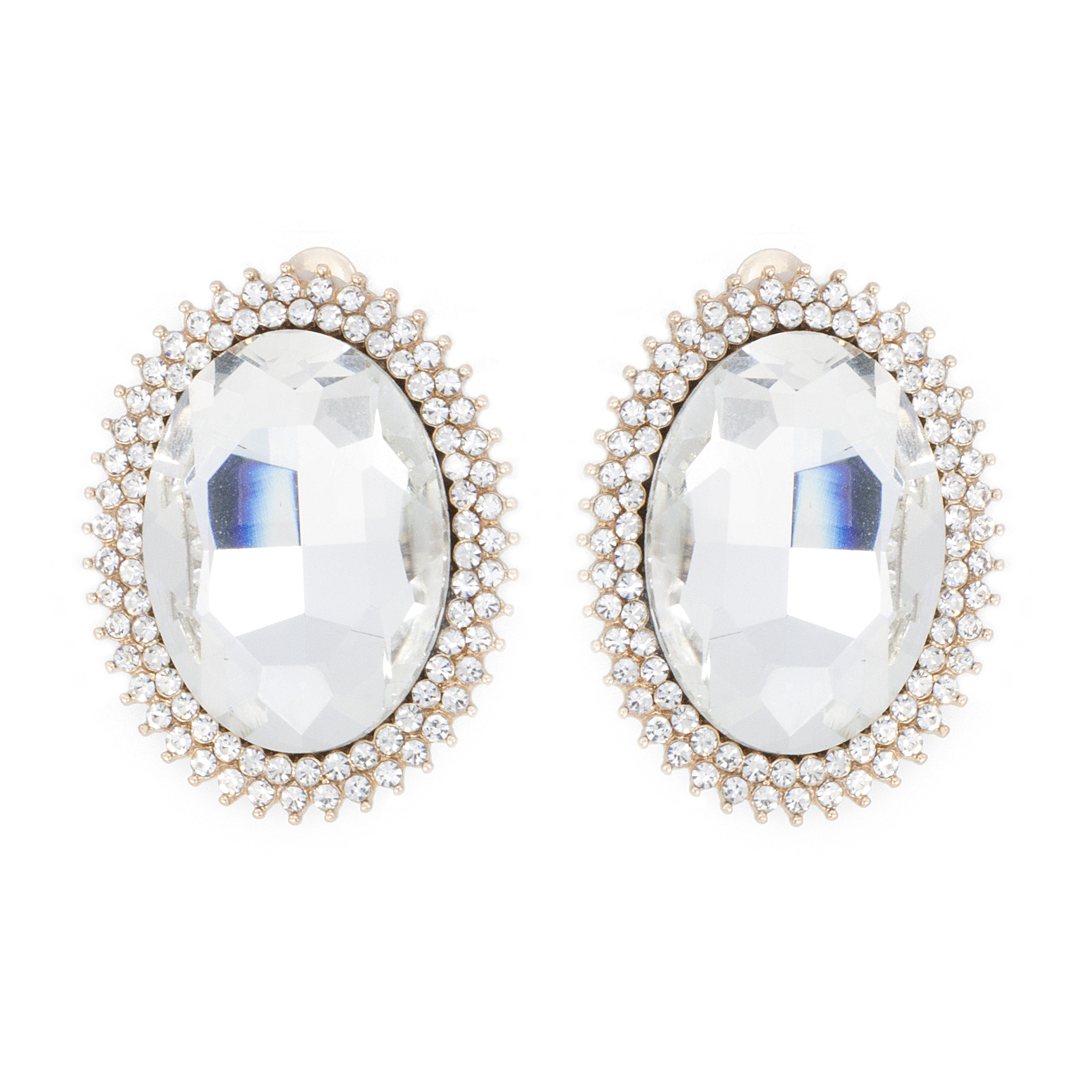 Framed Oval Glass Stone Clip On Earrings