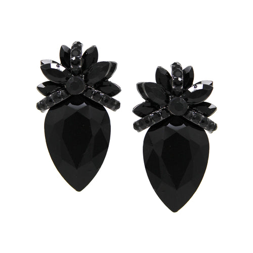 Floral Glass Stone Cluster Clip On Earrings