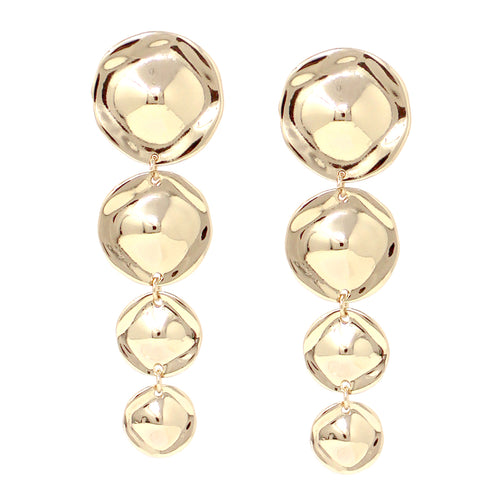 Crumpled Metal Disc Linear Drop Clip On Earrings