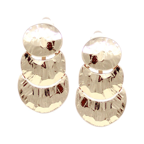Textured Metal Disc Linear Drop Clip On Earrings