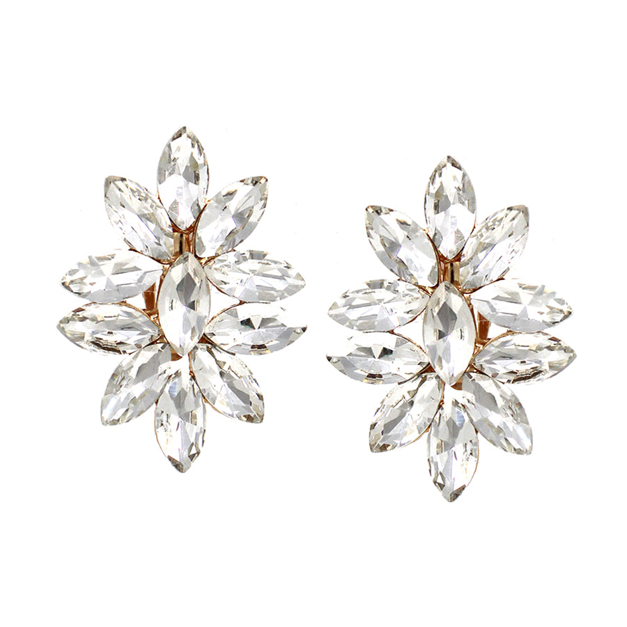 Marquise Glass Stone Cluster Clip On Earrings