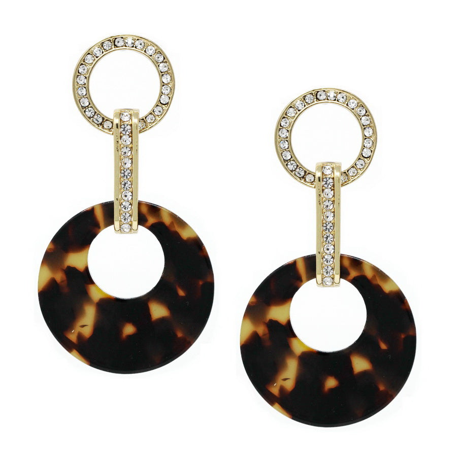 Glass Paved Hoop And Acetate Link Drop Earrings