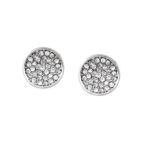 Rhinestone Pave Curved Disc Stud Earrings