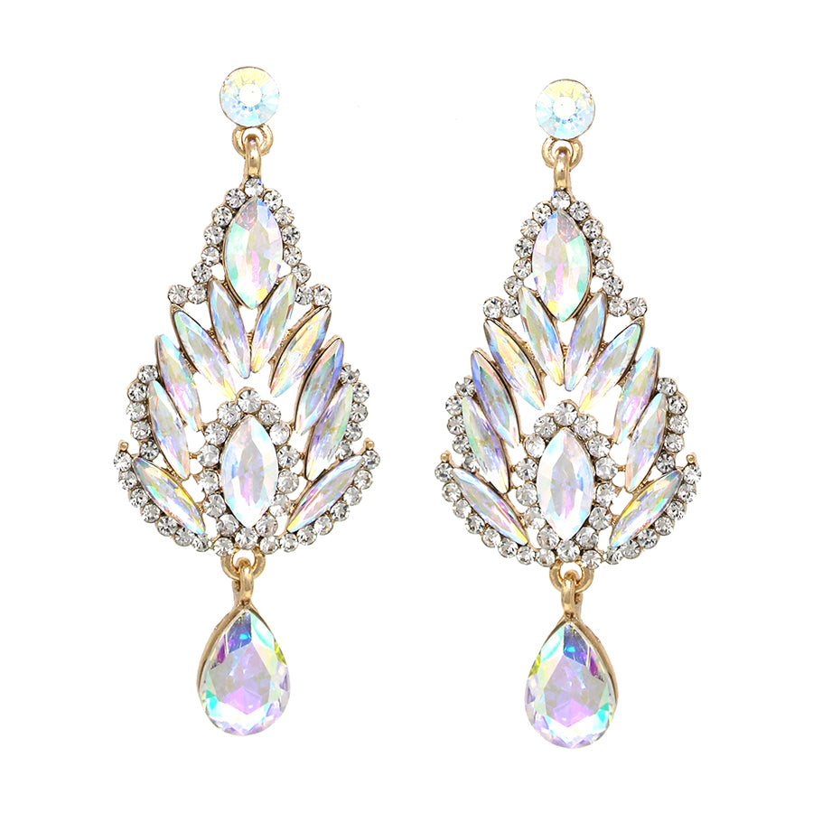 Marquise Stone Pave Cluster With Teardrop Glass Stone Dangle Earrings