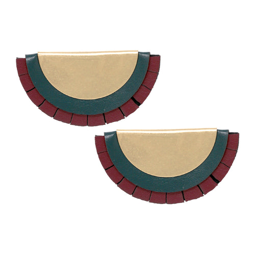 Folded Metal With Leather Layered Stud Earrings