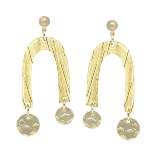 U Shape Acetate With Hammered Disc Dangle Earrings