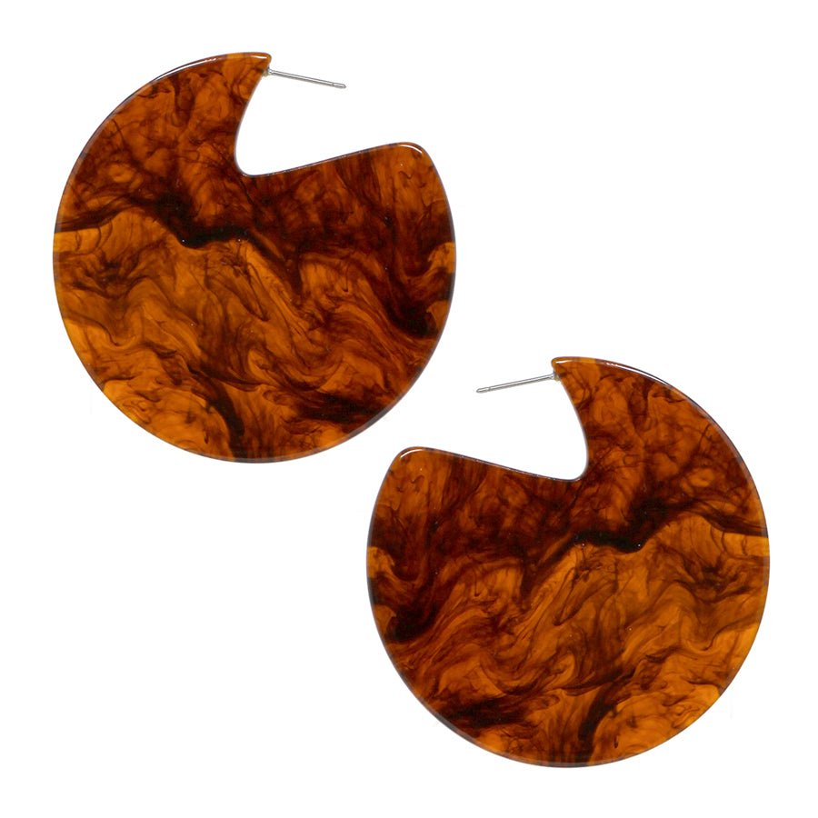 Metallic Flakes / Marble Acetate Disc Earrings