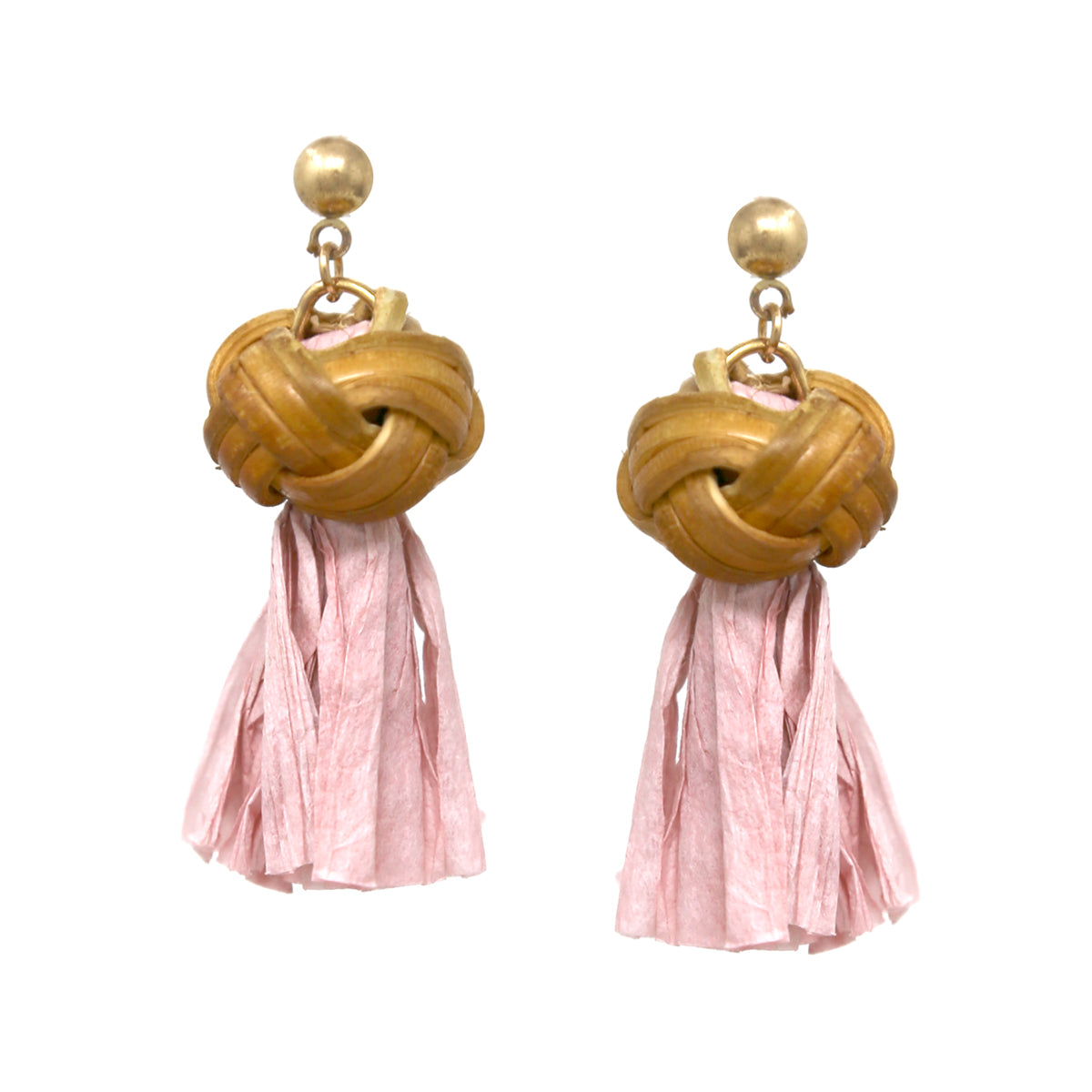 Rattan Ball Raffia Tassel Drop Earrings