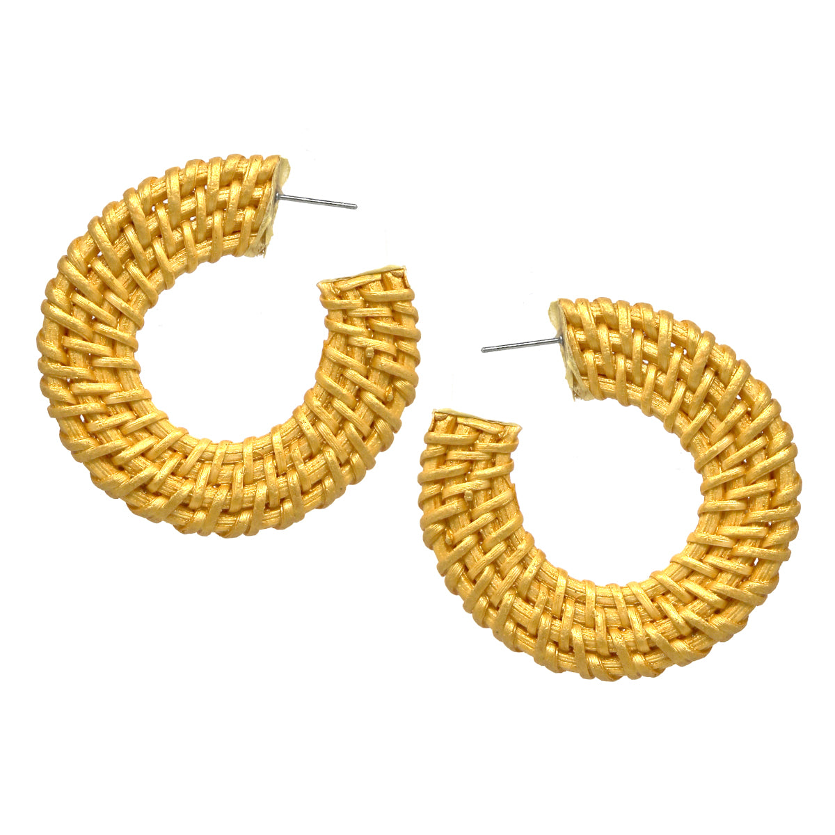 Color Coated Rattan Hoop Earrings