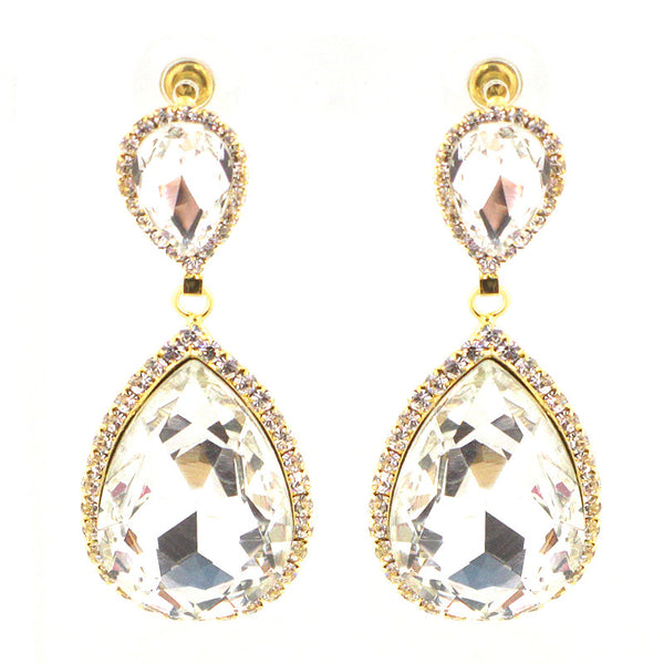 Glass Stone Holiday Teardrop Earrings