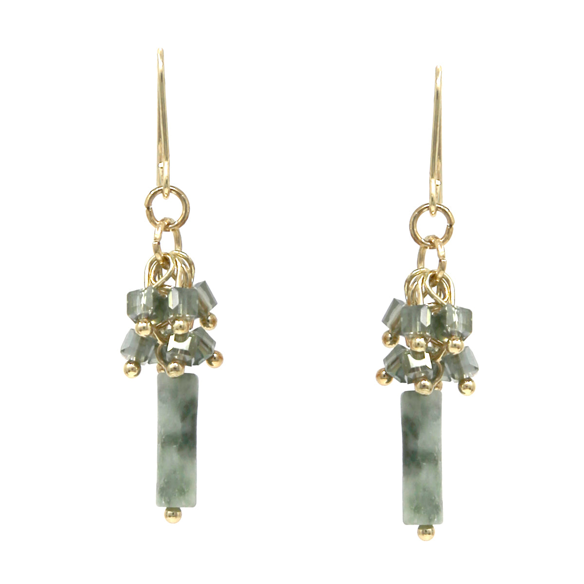 Cylinder Natural Stone Glass Bead Fringe Drop Earrings