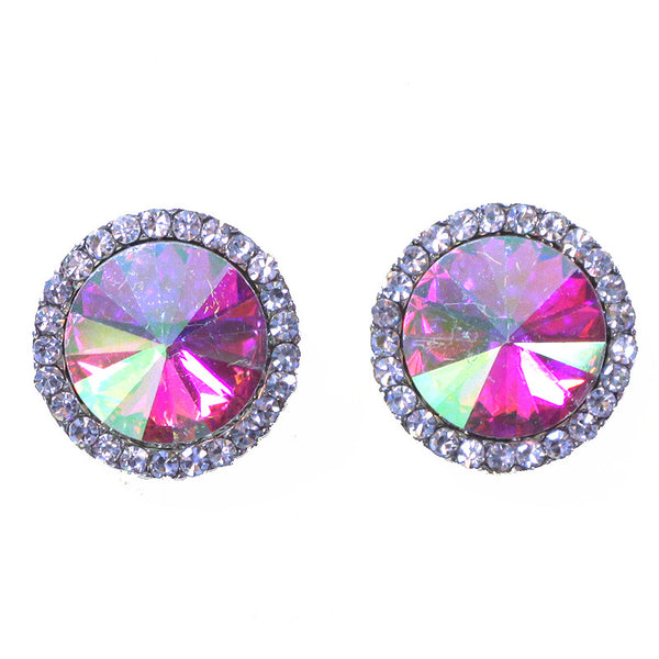 Rhinestone Bridal Round Stud Earrings