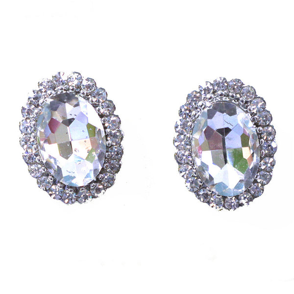 Rhinestone Bridal Oval Stud Earrings