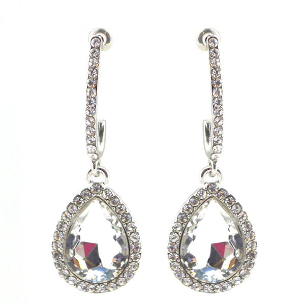 Glass Stone Bridal Teardrop Earrings
