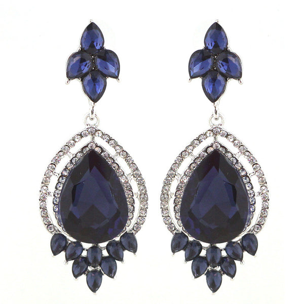 Glass Stone Bridal Statement Earrings
