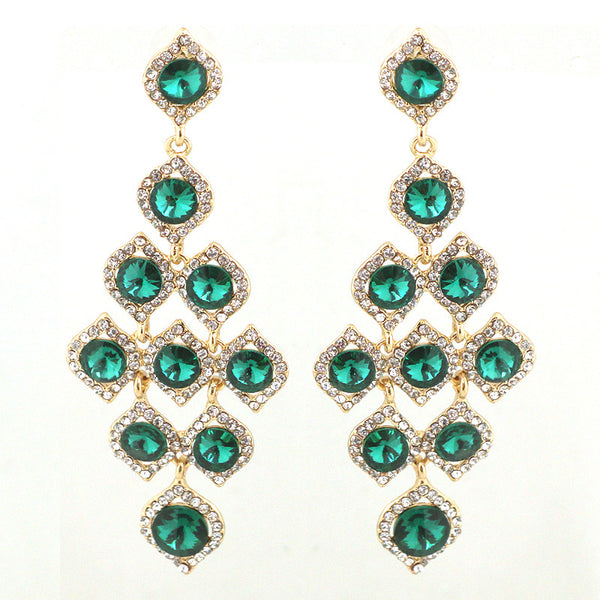 Rhinestone Holiday Cascade Earrings