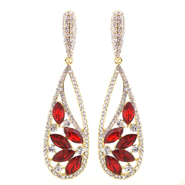 Rhinestone Holiday Teardrop Earrings