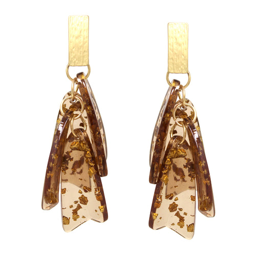 Gold Flake Acetate Petal Fringe Drop Earrings