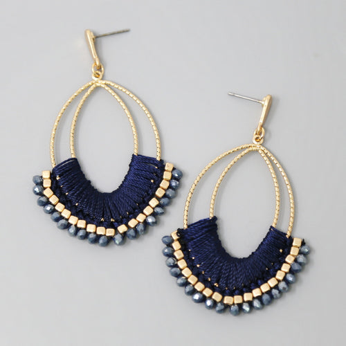 Thread Wrapped Glass Bead Trimmed Drop Earrings