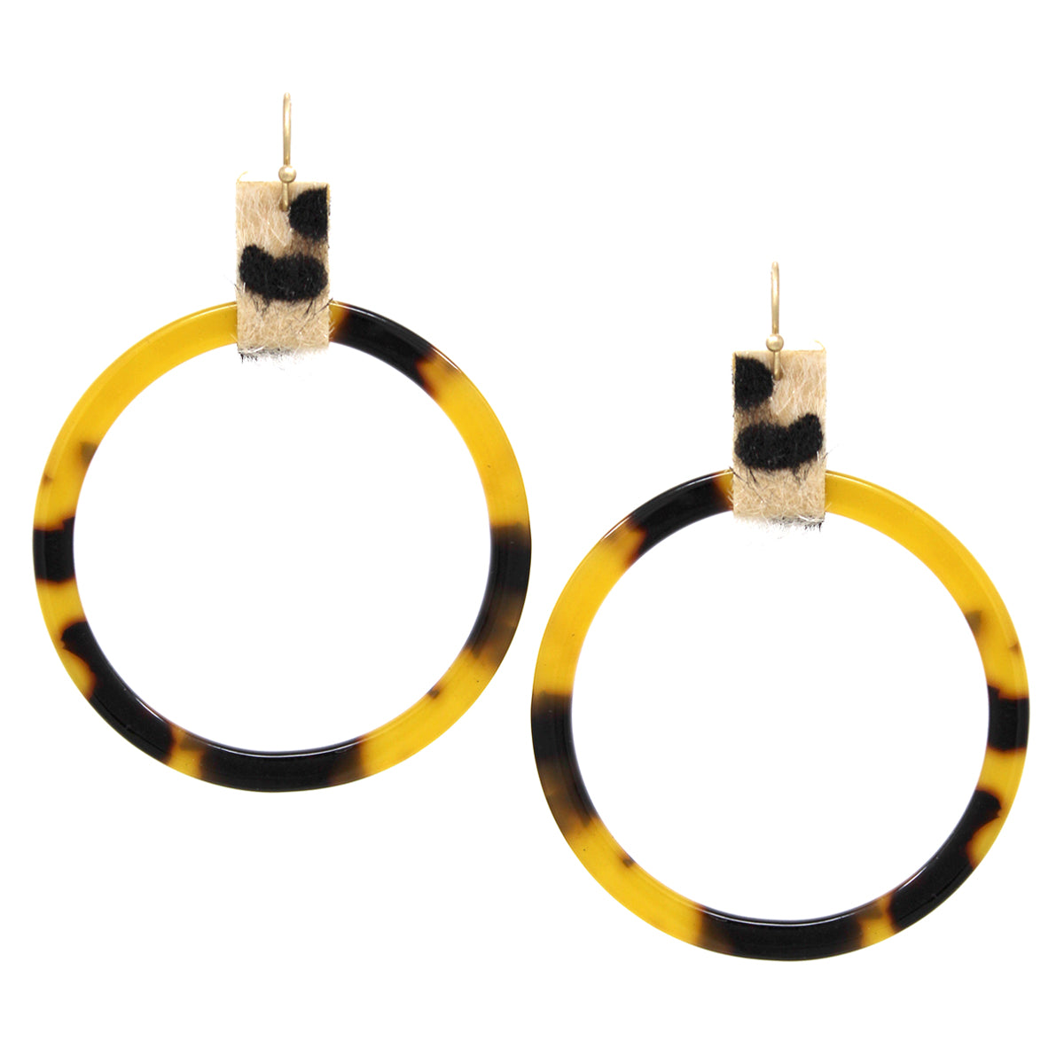 Animal Print Faux Leather Acetate Hoop Drop Earrings