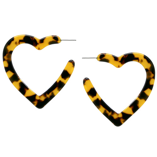 Textured Acetate Heart Shape Hoop Earrings