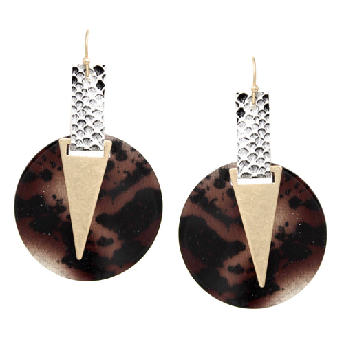 Animal Skin Print Faux Leather Acetate Disc Drop Earrings