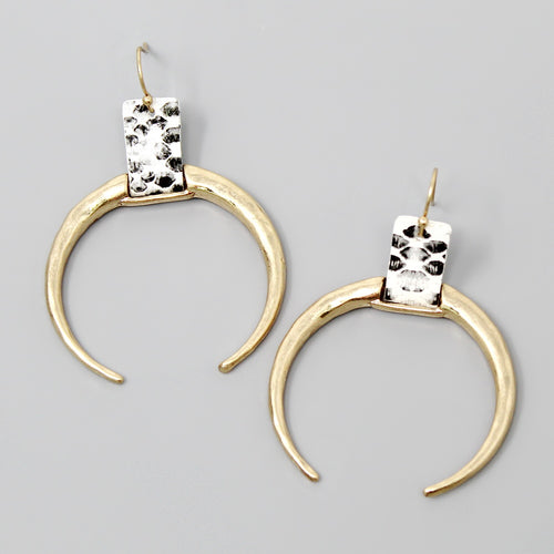 Animal Print Leather Strap Crescent Shape Drop Earrings