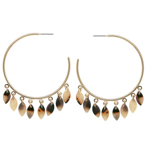 Marquise Shape Acetate Fringe Hoop Earrings