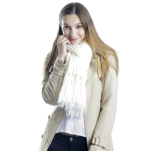 Knitted Oblong Scarf With Tassel Fringe