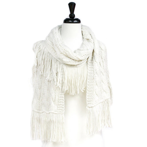 Thread Fringed Braid Knitted Scarf