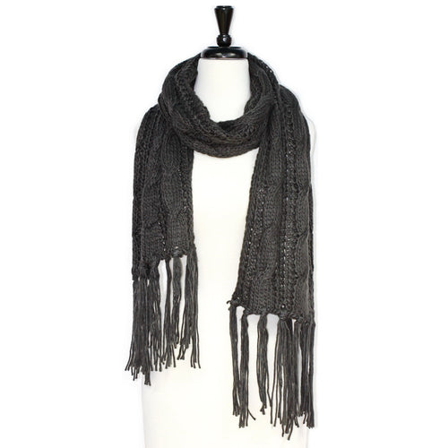 Braid Pattern Knitted Scarf With Tassels