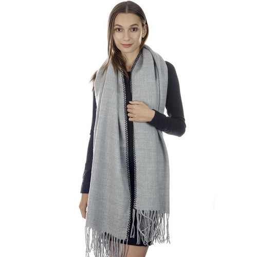 CLOIE Whipped Stitch Hem Wide Oblong Scarf